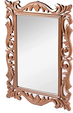 Surya Wood Art Wooden Handcrafted Wall Mirror for Bedroom Home Decor Living Room Bathroom ( 60 X 45 1.9 cm , Brown)