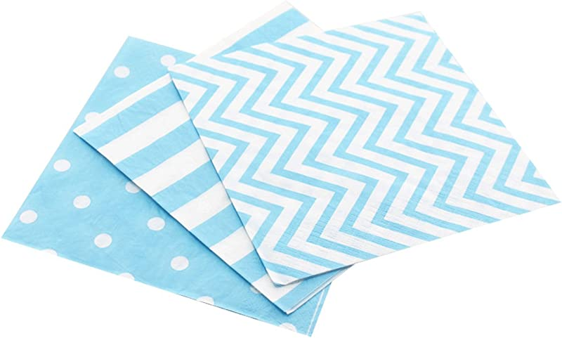 Anyneo Striped Chevron Polka Dot Blue Paper Beverage Napkins 60 Count