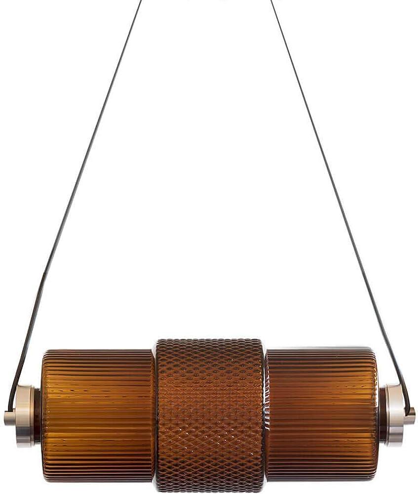 Karman nox, lampada a sospensione strip led, dimmerabile color tabacco ,in vetro SE1242N INT