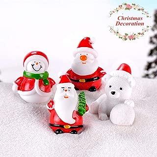 UNVT.MCDWbb 4pcs Santa Claus Snowman Figure Set,DIY Miniature Figurine Xmas Garden Decor Micro Landscape