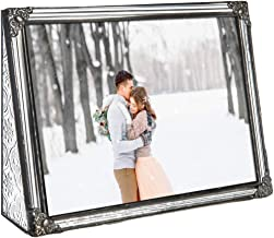 5x7 Picture Frame Clear Glass Wedding Photo Frame Family Anniversary Baby Keepsake Gift Vintage Home Décor J Devlin Pic 360-57H (5x7 Horizontal