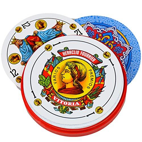 Cubierta de 50Fournier Redondo español Naipes en Carcasa de plástico–Baraja española Redondas