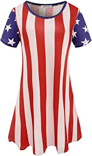Aphratti Women's American Flag Dress 4th of July Summer Patriotic USA Apparel