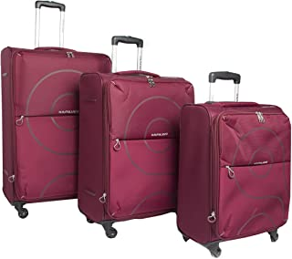 Kamiliant Cayman Set of 3, Soft Luggage Trolley Bags With Number Lock, 81+65+58cm, Maroon
