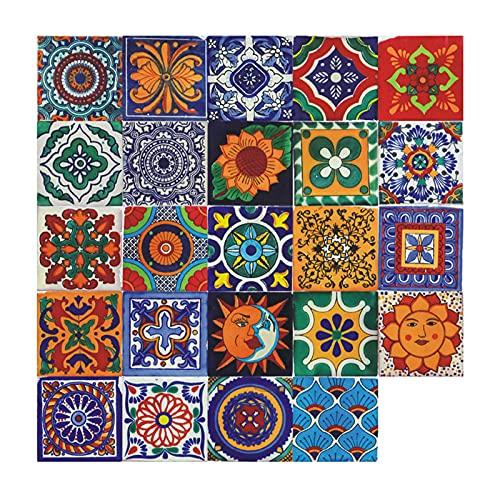 24 Stück marokkanische Fliesenaufkleber, selbstklebende Vinyl-Fliesen-Aufkleber, Wand-DIY-Fliesen-Aufkleber, Heimdekoration für Küche, Wohnzimmer, Schlafzimmer (15 x 15 cm)