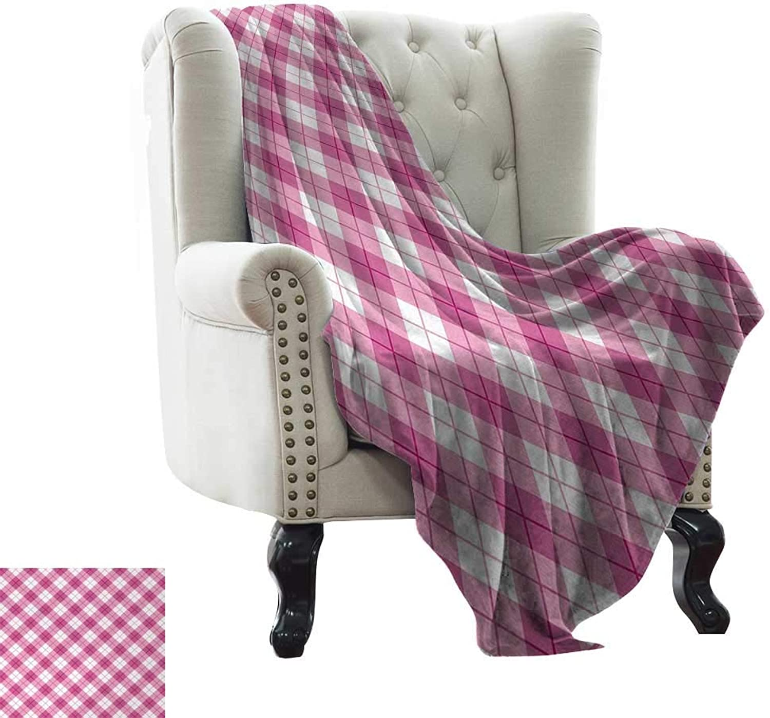 BelleAckerman Queen Size Blanket Abstract,Geometric Diagonal Figure in Pastel color Girls Style Checked Design,Fuchsia Light Pink White for Bed & Couch Sofa Easy Care 35 x60