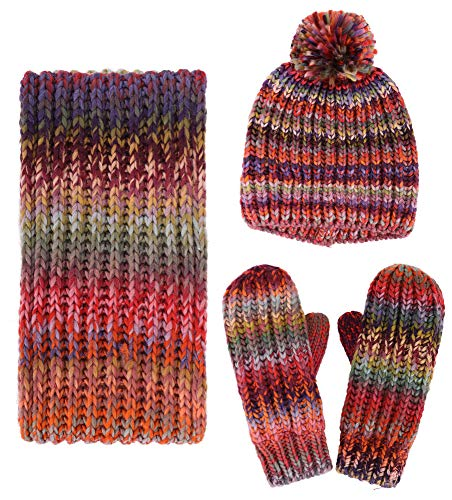 3 PCS Women Lady Fashion Warm Knitted Hat Gloves and Scarf Winter Set,Mix Color