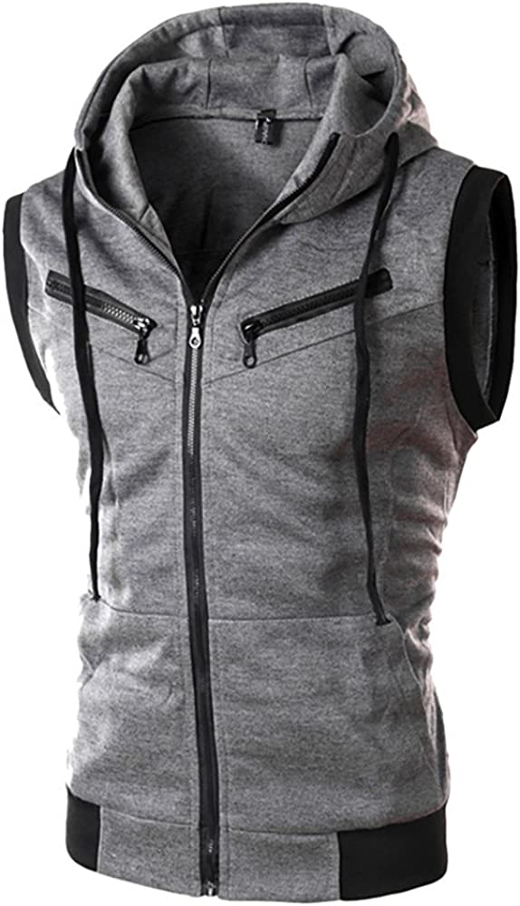 Fashion Men's Summer Casual Hooded Pure Color T-Shirt Sleeveless Hoodie Tops