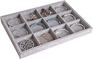 Autoark Ice Velvet Stackable 12 Grid Jewelry Tray Showcase Display Organizer,AJ-071
