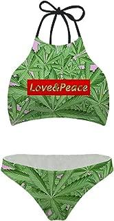 Sannovo Sexy Scrunch Butt Bikini Two Piece Cheeky Bottom Weed Pot Leaf Marijuana