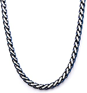 Bonyak Jewelry Stainless Steel Brushed /& Polished w//Blk CarbonFiber Inlay 22in Necklace in Stainless Steel