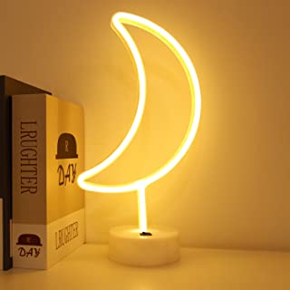 BHCLIGHT LED Moon Neon Light Signs Room Decor with Holder Base Night Lights Indoor Decor Battery Operated Light up Sign Bedside Table Lamps Neon Signs for Home Decoration