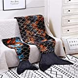 Mermaid Tail Blankets Glittering Cozy Soft Flannel Rainbow Colorful Gifts All Season for Toddlers Girls( (Black, Toddlers)