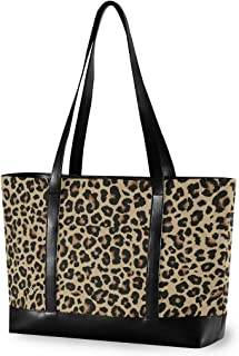 Cheetah Leopard Laptop Tote Bag,Fits 15.6 Inch Laptop,Womens Lightweight Canvas Leather Tote Bag Shoulder Bag(i)