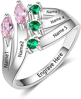 Personalized Sterling Silver Mothers Rings with 5 Simulated Birthstones Rings for Mom Mothers Days Rings Family Name Rings for 5 Mother's Christmas Rings for Mom
