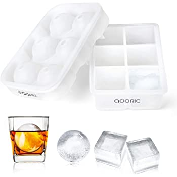 Ice Cube Tray, Adoric Ice Trays, Transparent Silicone Ice Cube Tray Sphere Ice Ball Maker with Lid and Large Square Ice Tray For Whiskey, Reusable and BPA Free (2 Pack)