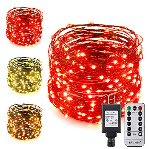 ErChen Dual-Color LED String Lights, Green Copper Wire Plug in 100 FT 300 LEDs Dimmable Fairy Lights with UL Adapter Remote Timer 8 Modes for Christmas Party Wedding (Red/Warm White)