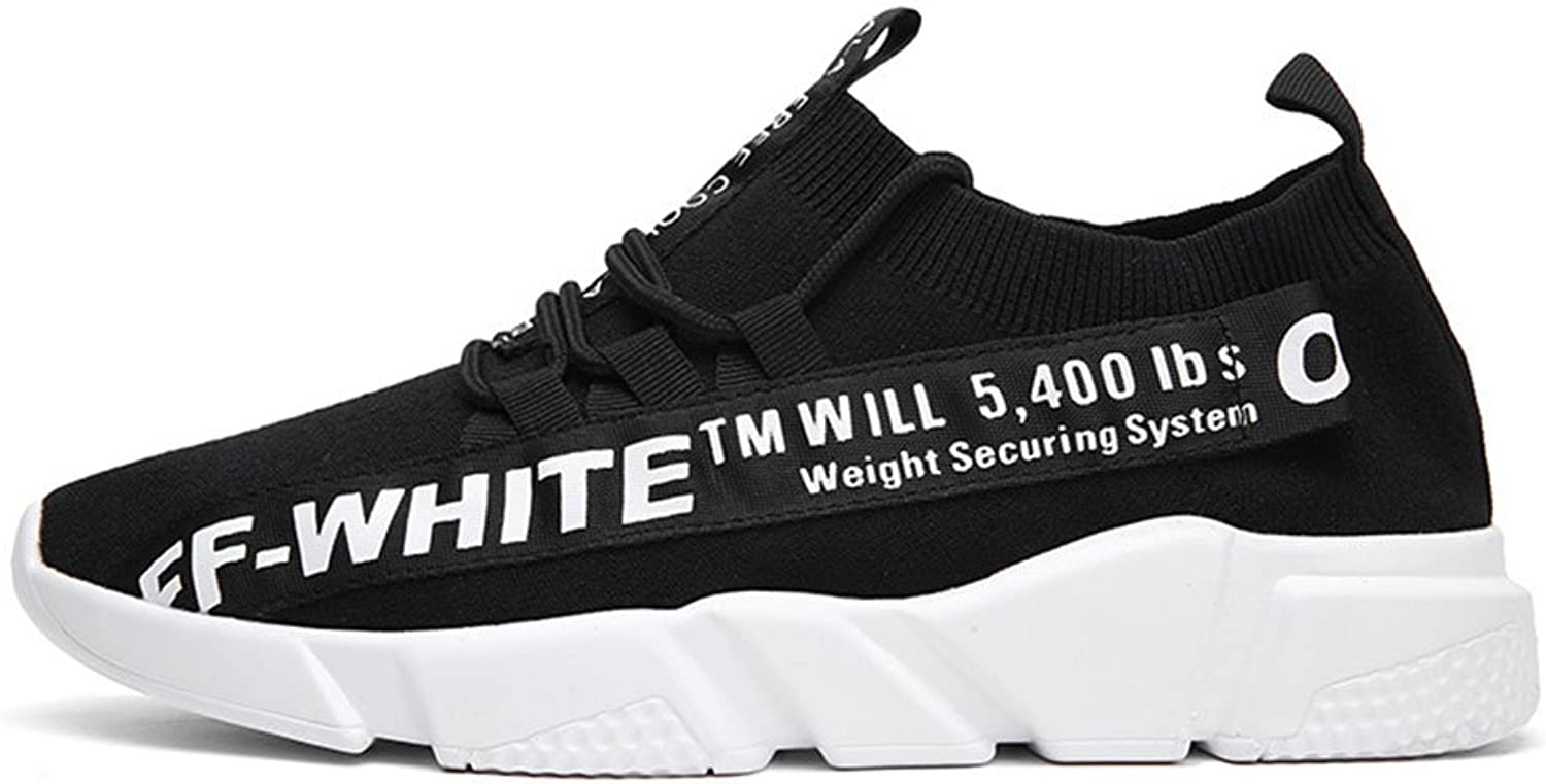 Sneaker Spring and Summer Breathable Recreational shoes Man Black and White Running shoes(22.5-27.5cm) Leisure