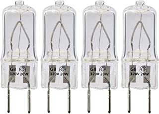 20W Microwave Halogen Light Bulb,WB25X10019 Replacement Bulb for GE Microwave Oven,G8 Bi-Pin Base,120 Volt,4-Pack