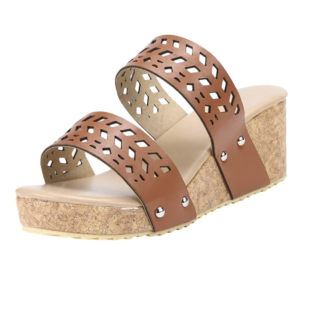 Women's Retro Sandals, BOLUBILUY Summer Fashion Wedges Shoes Peep Toe Sandals Hollow Carved Slippers Casual Sneakers
