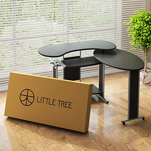 L-Shaped Computer Desk, LITTLE TREE Rotating Corner Desk & Modern Office Study Workstation, for Home Office or Living Room (Black)