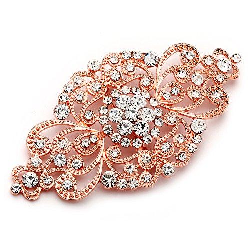 Mariell Vintage Rose Gold Bridal Crystal Brooch Pin - Blush Rose Gold Rhinestone Wedding & Fashion Glam