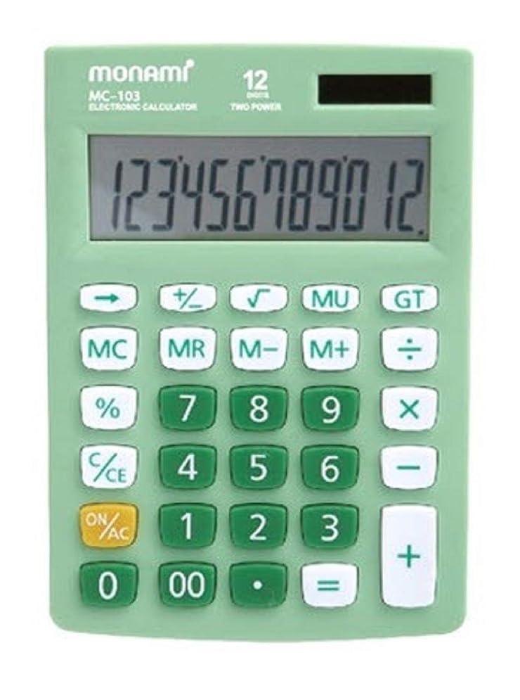 タバコ滝債務Monami MC-103 12桁 デュアルパワー 標準機能デスクトップ電卓 (グリーン)