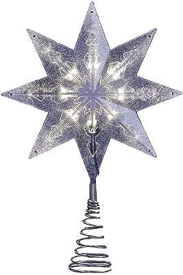 Kurt Adler LED 8-Point Star Treetop, 11.5-Inch, Sliver