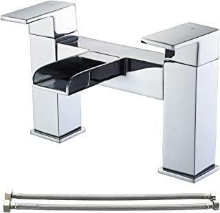 Waterfall Bath taps,Luckyhome Bathroom Filler Mixer Tap Chrome Double Lever Tub Tap