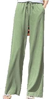 Spring Summer Casual Womens Elastic High Waist Wide Leg Green Black White Linen Trousers Fall Female Woman Pants