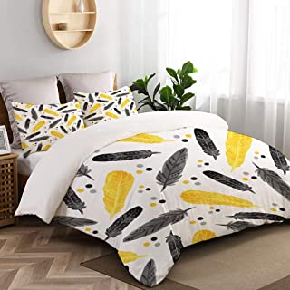 WINCAN Duvet Cover King Size,Watercolor Fashion Seamless Pattern Black Yellow,Decorative 3 Pieces Bedding Set with Zipper Closure and 2 Pillow Shams (104