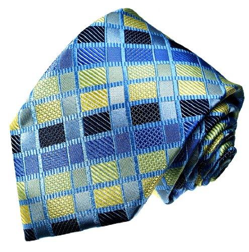 Lorenzo Cana - Marken Krawatte aus 100{b4d20a66c3bbf4f1dfbf54447cb0e016412ef7b34e0e1c4be5eaf17cab79fc24} Seide - blau gold hellblau kariert Karos - 12038