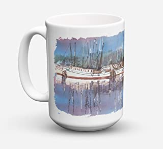 Caroline's Treasures 8112CM15 Harbor Dishwasher Safe Microwavable Ceramic Coffee Mug, 15 oz, Multicolor