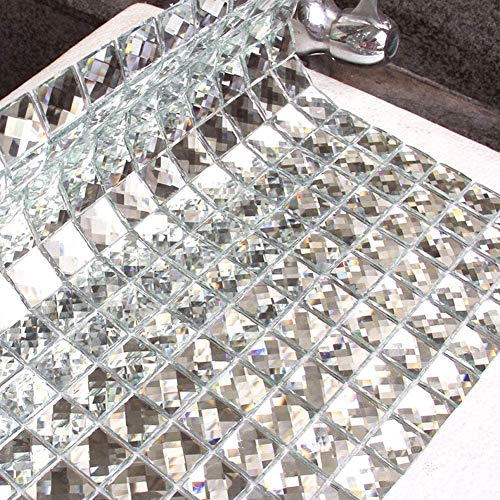 Diflart Glass Mirror Mosaic Tile 12x12 Inch Crystal Diamond 3/4 inch Mosaic for Wall Kitchen Backsplash LinerPack of 20 (Silver)