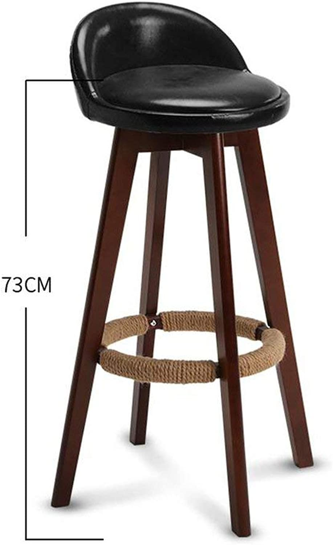 Tthappy76 Bar Stool Nordic Modern Minimalist Home Solid Wood High Stool Bar Stool Bar Chair Leisure Back Chair Stool,Style 18
