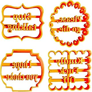 Cookie Cutters Biscuit Moulds with Funny Rude Sayings Cuss Words, 4PCS Halloween Cookie Cutters Form with Fun Irreverent P...