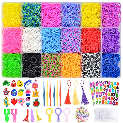 VICOVI 7100+ Colorful Rubber Bands Refill Kits for Kids Girls Boys DIY, Bracelet Making Kit Include:6500 Bracelet Bands 300 Clips 6 Crochet Hooks 50 Beads 15 Charms 3 Tassels 3 Backpack Hook