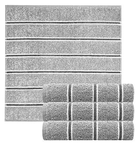 Lashuma 4tlg. Geschirrtuchset Streifen, Saugstarke Frottee Handtücher Grau, Hochwertige Küchentücher Größe: 50x50 cm