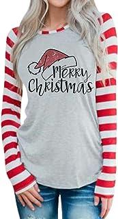 DUTUT Merry Christmas Baseball T-Shirt Womens Cute Santas Hat O-Neck Long Sleeve Striped Splicing Tops Tees Size L (Grey)