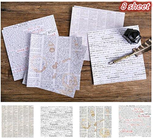 Tic-Tac 8 Feuilles Papier Vintage Autocollant Papier Designer Décoration Scrapbook (Journal Anglais)