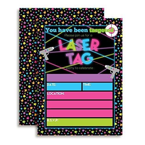 AmandaCreation Laser-Einladungen für Mädchen, 12,7 x 17,8 cm, zum Einfüllen von Karten mit 20 weißen Umschlägen, 20 Stück