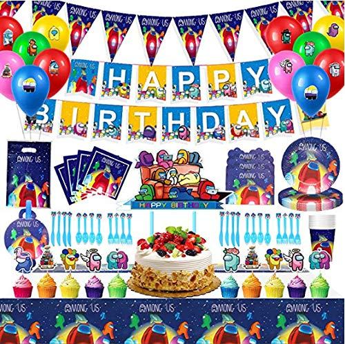 82 Pack Among Us Party Geburtstagsfeier Set,Wimpel Tischdecken Teller Becher Servietten Geburtstag Dekoration Set, Geburtstag Dekorationen für Kinder 10 Gäste