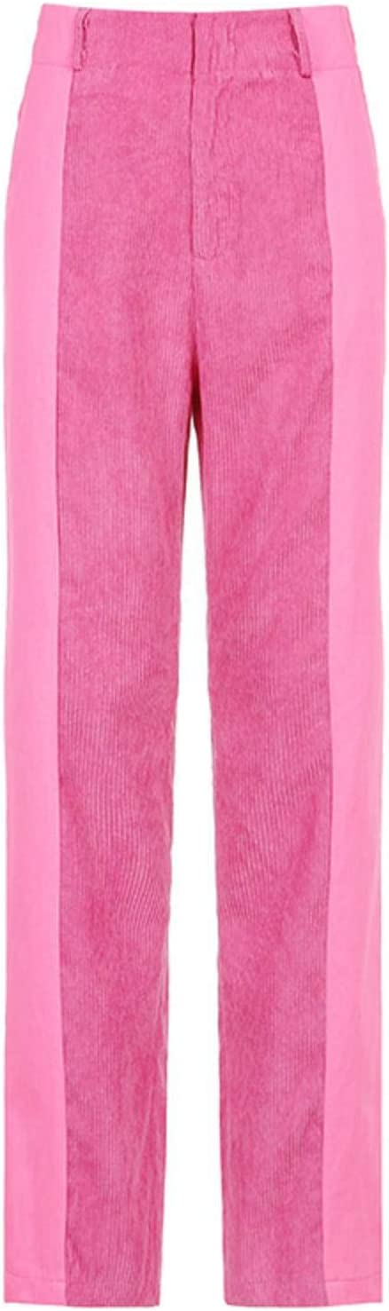 LZZSWDT Autumn/Winter Women's High-Waist Slim-fit Corduroy Y2k Straight Casual Pants Street Women's Thin Trousers 90s
