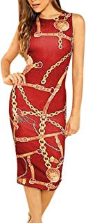Dresses Women Chain Print Sleeveless Bodycon Clubwear Evening Party Slim Formal Dress