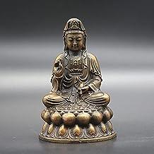 China Bronze Buddhist Kwan-yin Guanyin Avalokitesvara Bodhisattva Jade Bottle Sit Lotus Flower Statue Home Decor