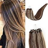 Micro Link Human Hair Extensions Remy Loop Micro Rings Hair Silky Straight Micro Bead Human Hair Extensions 1g/Strand,50g Real Virgin Loop Hair For Woman (22inch, P4/613)