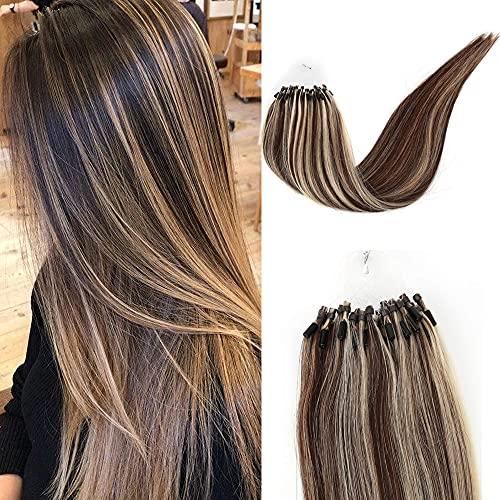 Kun Na Remy Loop Micro Rings Hair Silky Straight Micro Ring Human Hair Extensions 1g/Strand ,50g Real Virgin Loop Hair For Woman (18inch, #P4/613)