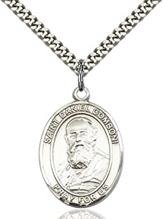 St. Daniel Comboni Hand-Crafted Oval Medal Pendant in Sterling Silver