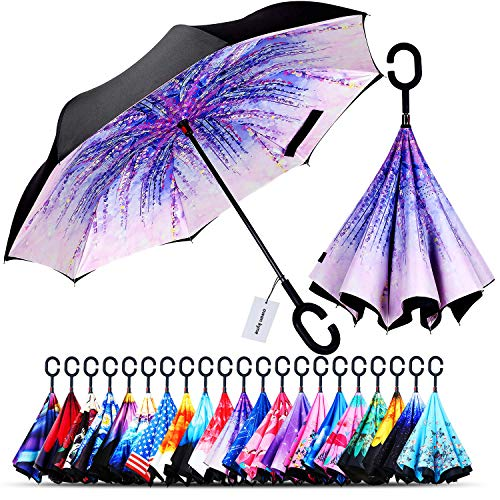 Owen Kyne Windproof Double Layer Folding Inverted Umbrella, Self Stand Upside-Down Rain Protection Car Reverse Umbrellas with C-Shaped Handle (Wisteria Tree)
