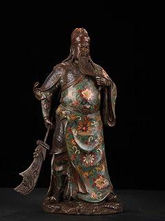 "Guan Gong Decoration ديكور المنزل 16""التبت البوذية معبد القديمة البرونزية مصوغة بطريقة غوان قونغ تمثال خذ قوان غونغ سكين..."